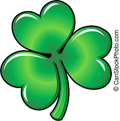 Illustration of green Shamrock clover leaf