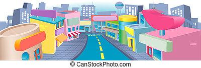 Illustration of shopping street