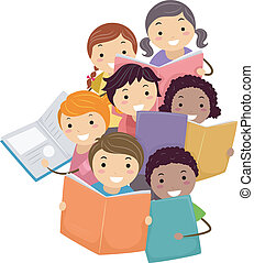 Illustration of Stickman Kids reading Books