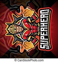 Superhero esport mascot logo design