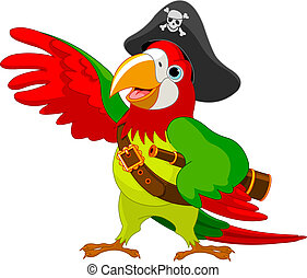 Illustration of talking Pirate Parrot