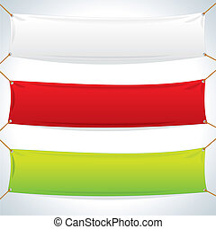 Illustration of Empty Textile Banners. Vector Objects Isolated on White Background