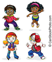 Illustration of the Black and Caucasian kids on a white background