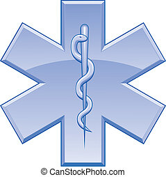 Illustration of the Star of Life symbol used on rescue vehicles. One color vector format can be easily edited or separated for print or screen print.