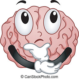 Illustration of Thinking Brain Mascot with Hands on Chin