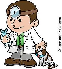 Illustration of veterinarian holding cat and petting dog