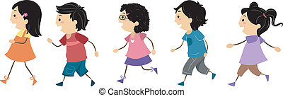 Illustration of Walking Kids