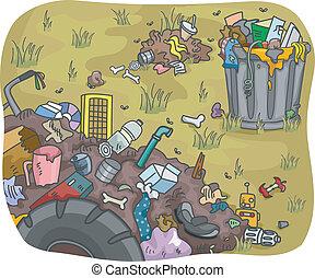 Illustration of Waste Dump in a Field
