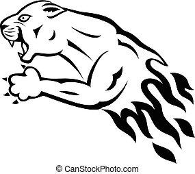Wild panther attacking