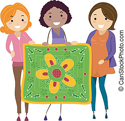 Illustration of Women Holding a Quilt