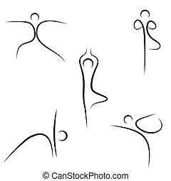illustration of yoga sketch on white background