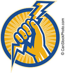illustration or Imagery that shows a Hand hold a lightning bolt of electricity set inside a circle.