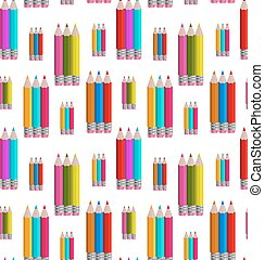 Seamless Pattern with Colorful Pencils