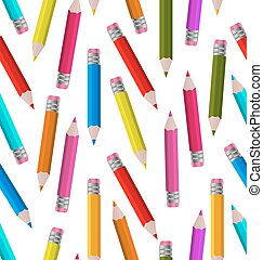 Seamless Wallpaper with Colorful Pencils