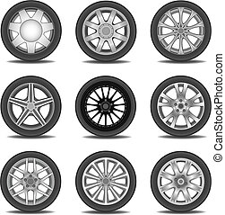 Illustration set of different tires in vector.