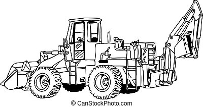 illustration vector doodles hand drawn of wheel loader isolated on white, realistic sketch