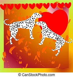 Illustration with two dalmatian dogs for Valentine