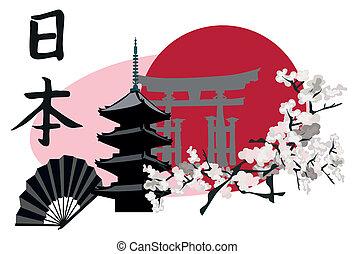 Ilustration with Japanese Landmarks; Pagoda and Torii Gate
