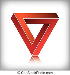 Impossible triangle, optical illusion. EPS10 vector format