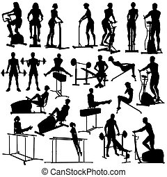 Set of silhouettes of people exercising in the gym with all figures and equipment as separate objects