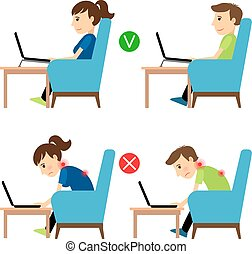 Incorrect and Correct laptop use position. Man and woman sitting in armchair with laptop example. Vector illustration.