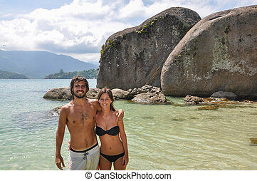 Incredible Journey Through Brazil, Young Couple at tropical isla