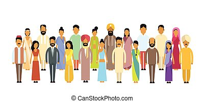 Indian Different People Group Traditional Clothes Full Length Flat Illustration Flat Illustration
