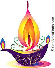 Stock Vector Illustration: Diya, Deepak (oil Lamp) Ornamental with flower