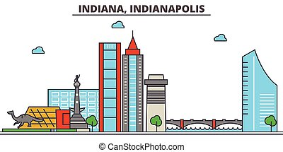 Indiana, Indianapolis. City skyline: architecture, buildings, streets, silhouette, landscape, panorama, landmarks, icons. Editable strokes. Flat design line vector illustration concept.