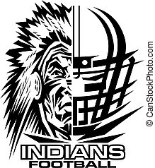 indians football team design with facemask and mascot for school, college or league