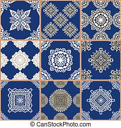 Indigo blue Tiles Floor Ornament Collection. Gorgeous Seamless Patchwork Pattern from Traditional Painted Tin Glazed Ceramic Tilework Vintage Illustration. For web page template background