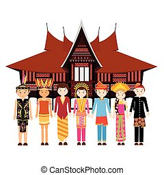 Indonesia ethnic group wearing traditional dress clothes in front of a house culture