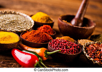 Traditional oriental spices in Indonesian bowls