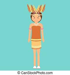 indonesian traditional clothes woman dress irian papua vector cartoon costume asian