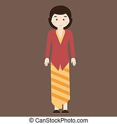 indonesian traditional clothes woman dress kebaya batik vector cartoon java costume