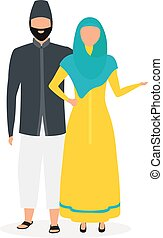 Indonesians flat vector illustration. Muslim couple. Woman in hijab and yellow dress. Asian culture. People dressed in national clothing isolated cartoon character on white background