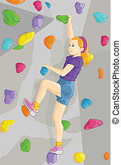A vector illustration of young girl climbing indoor wall