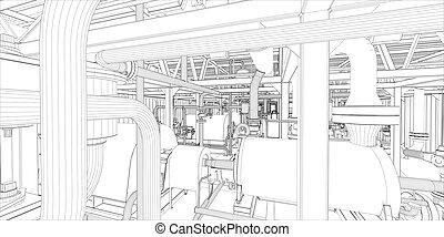 Industrial equipment. Wire-frame 3d render. Vector format