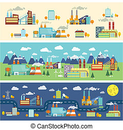 Industrial buildings factories facilities public offices and power plants horizontal banners set vector illustration
