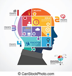 infographic Template with Head jigsaw banner . concept vector illustration