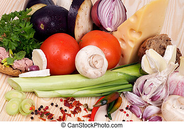 Ingredients of Simple Meals with Vegetables, Cheese and Spices closeup