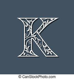 Initial Letter K. Floral Monogram Template. Filigree Logo. Floral Pattern. Elegant Emblem. Decorative Font. Graceful style. Calligraphic Luxury Design. Beauty Ornament. Vector Illustration