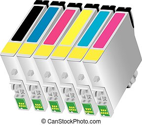 Six colors ink-jet cartridge for desk-jet type of printers