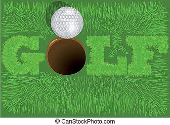 inscription golf on a green grass. 10 EPS