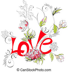 Inscription Love with peony flower