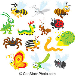 Collections of insects on a white background with fly, butterfly, dragonfly, snail, worm, potato beetle, spider, ladybug, ant, caterpillar, grasshopper, bee, wasp and mosquito