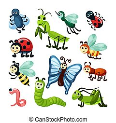 insects. fly bugs nature wildlife beautiful butterfly grasshoppers snails and caterpillars. Vector cartoon insects