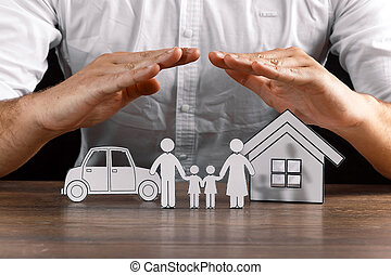 insurance house protection concepts, Hands post protect over house.