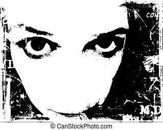 Grunge style background of female staring intently