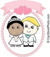 inter racial wedding cartoon